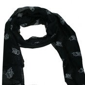 Image of Owl print scarf in black or plum