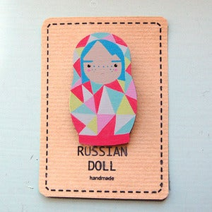 Image of Grumpy Russian Doll Brooch by Sketch Inc 