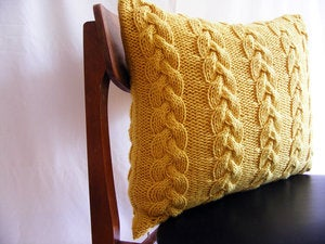 Image of Hand Knit Chunky Cable Knit (Honey) (50 x 40cm)