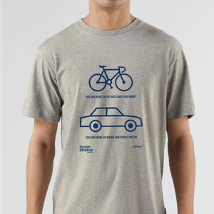 Image of Boneshaker x Howies t-shirt: This One Runs on Fat (grey)