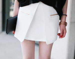 Image of Metal Pocket Wrap Skirt- White