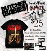 "Image of ""Evil Hands SALE PACKAGE"" T-Shirt, Signed 5x7, Stickers and Gift"