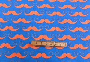 Image of Master Stache - Orange on Royal Blue - Cotton Lycra (Per 2 Yards, Shipped)