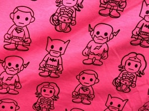 Image of Neon Alliance - Heroes on Bright Pink Jersey (Lightweight) Per 2 Yards, Shipped.