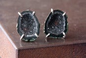 Image of One of a Kind Dark Druzy Agate Geode Studs in Sterling