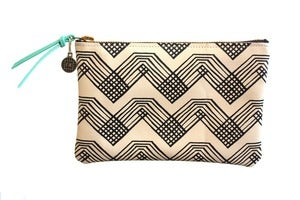 Image of Wallet Pouch- Cream Leather with Black Rainbow Pattern