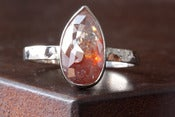 Image of Natural Silvery-Red Rose Cut Diamond in 14kt White Gold