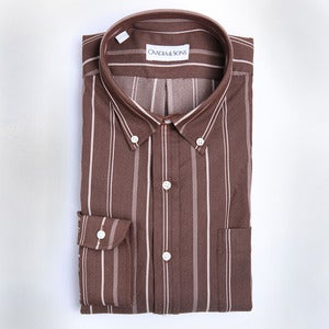 Image of O&S Brown Denim Stripe Midwood, Size Small