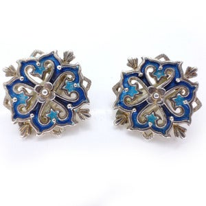 Image of Vintage Silver Floral Blue Enamel Danish Clip On Earrings