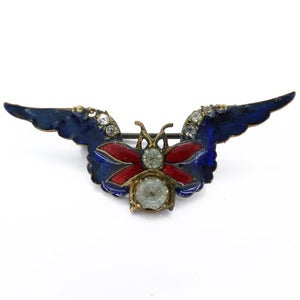 Image of Vintage Art Deco Blue Enamel Paste Bug Insect RAF Sweetheart Pin Brooch