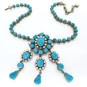Vintage Ornate Gold Tone Turquoise Cabochon Faux Pearl Ornate Drop Necklace