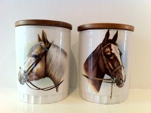 Image of PAIR OF KITSCH HORSE JARS