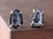 Image of One of a Kind Blue Druzy Agate Geode Studs -14kt Yellow Gold