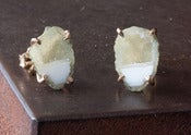 Image of One of a Kind White/Yellow Druzy Agate Geode Studs 14kt Gold