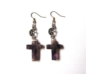 Image of Amethyst Moon and Star Cross Earrings