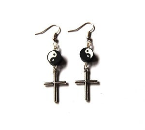 Image of Yin Yang Cross Earrings