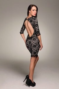 Image of Honor Gold Faye Black and nude open back lace knee length dress