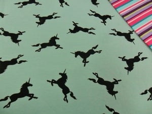 Image of Legendary (Seafoam) - Unicorns on Soft Cotton Loopback with Lycra - Per 2 Yards, Shipped