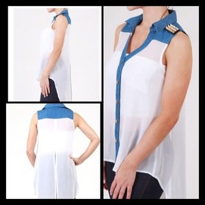 Image of SPIKE SHOULDER CHIFFON TOP