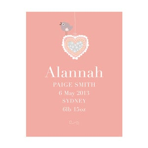 Image of 'Vintage Heart' Personalised Birth Art Print