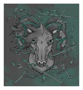 "Image of ""Four horned ram"" open edition poster."