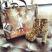 Image of Nicole Lee Cheetah Cosmetic Hobo Bag 