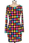 Image of Colorful Checkard Dress 