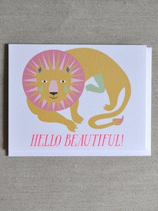 Image of &quot;Hello Beautiful&quot; Lion Note Card