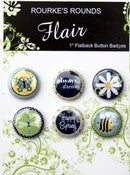 "Image of Denim Spring Flair - 6 x 1"" Flatback Buttons / Badges - Rourke's Rounds"