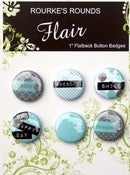 "Image of Aqua & Grey Happy Day Flair - 6 x 1"" Buttons / Badges - Rourke's Rounds"