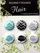 "Image of Everyday Aqua/Grey/Black Flair - 6 x 1"" Flatback Buttons / Badges - Rourke's Rounds"