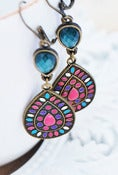 Image of Multi Color Drop with Teal Teardrop and Antiqued Brass Finish - Boho Chandelier Earrings