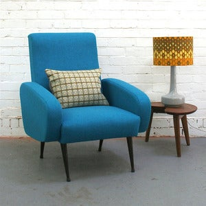 Image of Vintage Armchair in Blue Wool