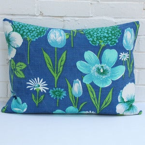 Image of Large Rectangular Cushion in Vintage Blue Barkcloth