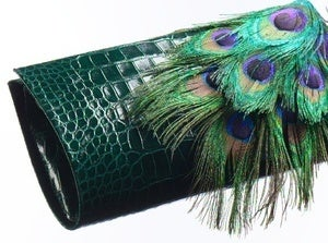 Paige Gamble — Alligator & Peacock Clutch :  peacock alligator clutch green