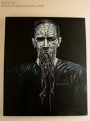 Image of HP LOVECRAFT portrait, acrylic on canvas