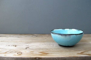 Image of Blue Landscape Art Pottery Bowl
