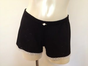 Image of Black Hearts Pointelle ~ Short w Cream Lace