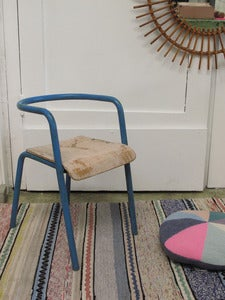 Image of Fauteuil Delagrave bleu/rose pâle - Vintage kids chair