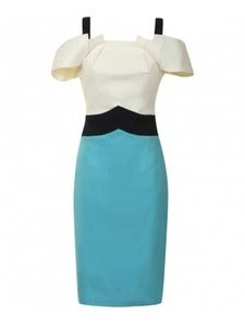 Image of Hybrid Boston Aqua Navy and Cream Dress
