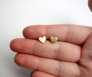 Image of Tiny Brass Heart Studs
