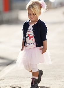 Image of NAVY CARDIGAN | PINK T-SHIRT | PINK TULLE TUTU SKIRT