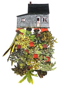 "Image of Print of an Original hand threaded art work:""Room Plant"""
