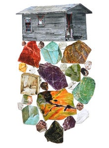 "Image of Print of an Original hand threaded art work:""Minerals"""