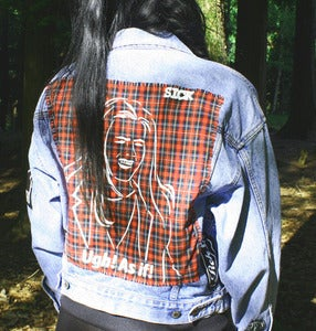 Image of Stitched up! Ladies light blue 'As If' denim jacket (small)