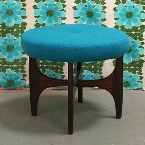 Image of Vintage G Plan Footstool in Blue Wool - SOLD