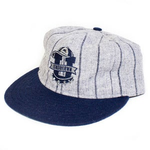 Image of Ebbets x UNDRCRWN U-Town Strap back Hat | heather grey/navy pinstripes