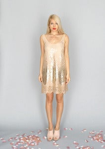 Image of Goldie: Metallic gold sequin A-line dress