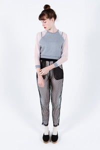 Image of Andrea Crews Black Mesh Spotty Trousers