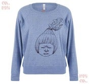 Image of Piss Off Blue Batwing Pullover (Girls)